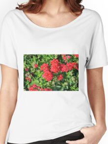 Red flowers bush. Women's Relaxed Fit T-Shirt