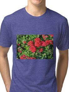 Red flowers bush. Tri-blend T-Shirt