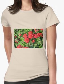 Red flowers bush. Womens Fitted T-Shirt