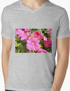Pink flowers bush in the garden. Mens V-Neck T-Shirt