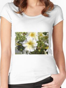 White beautiful flowers in the park. Women's Fitted Scoop T-Shirt
