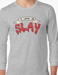 Slay Beyonce Buffy Vampire Blood Kill Horror Feminist Print Long Sleeve T-Shirt