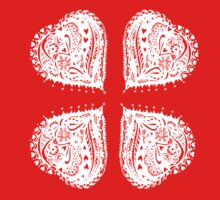 4 Hearts White Aussie Tangle - See Description Notes re Colour Options One Piece - Short Sleeve
