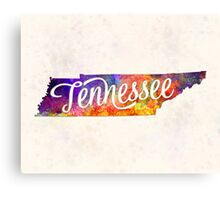 Tennessee US State in watercolor text cut out Canvas Print