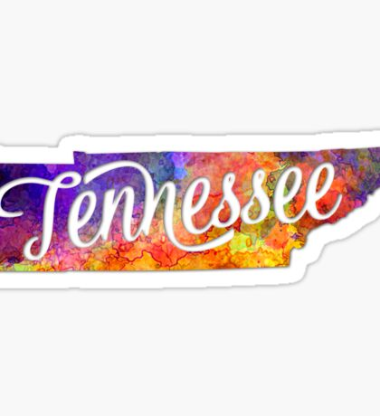 Tennessee US State in watercolor text cut out Sticker