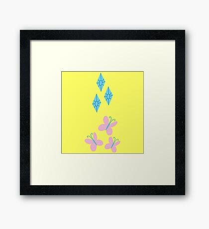 My little Pony - Fluttershy + Rarity Cutie Mark V2 Framed Print