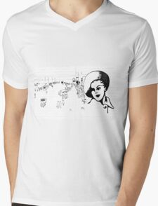 Back in Twenties fashion retro nostalgic. Mens V-Neck T-Shirt
