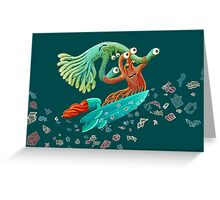 Surfing Monster Fun Greeting Card