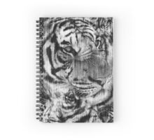 Black White Vintage Layered Tiger Spiral Notebook