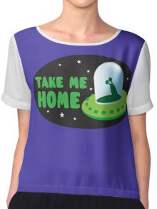 Take me HOME with cute Alien spacecraft Chiffon Top