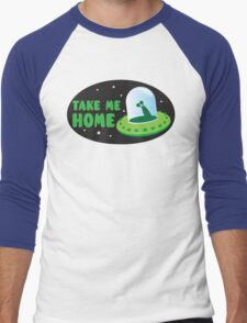 Take me HOME with cute Alien spacecraft Men's Baseball ¾ T-Shirt