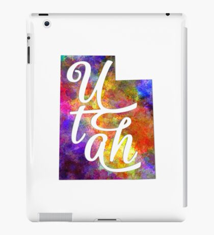 Utah US State in watercolor text cut out iPad Case/Skin