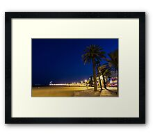 The Golden Beach of Barcelona - Bright Lights Blue Hour in La Barceloneta Framed Print