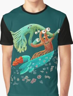 Surfing Monster Fun Graphic T-Shirt