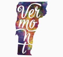 Vermont US State in watercolor text cut out One Piece - Short Sleeve