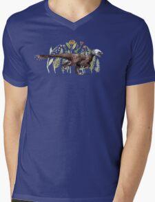Velociraptor and plant life Mens V-Neck T-Shirt