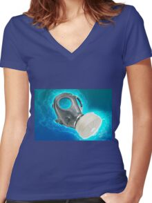 Digitally enhanced Gas Mask elevated side view  Women's Fitted V-Neck T-Shirt