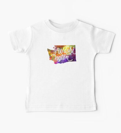 Washington US State in watercolor text cut out Baby Tee