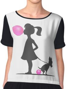 little girl and pooping dog Chiffon Top