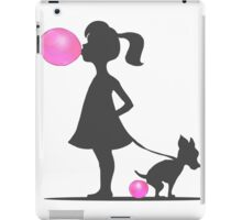 little girl and pooping dog iPad Case/Skin