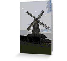 Woodchurch windmill in cartoon graphic  Greeting Card