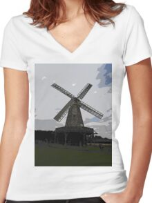 Woodchurch windmill in cartoon graphic  Women's Fitted V-Neck T-Shirt