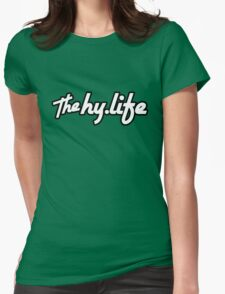 The Hy.Life White Logo with Black Background Womens Fitted T-Shirt