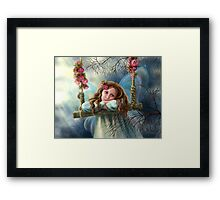 Beautiful young fairy  butterfly on  swing. Illustration.        Framed Print