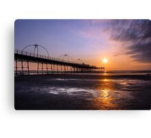 Sunset At Southport Pier Canvas Print