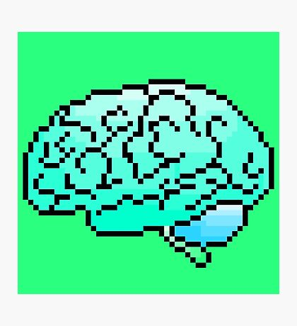 Pixel Art Brain 8-Bit Photographic Print