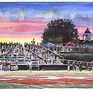 Football Coach and field watercolor by Mike Theuer