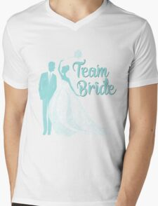 Team Bride Limpet Shell Aqua Blue Pantone Wedding Color Bachelorette Party Bridal Groom Mens V-Neck T-Shirt