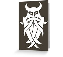 Odin's Mask Tribal (white) Greeting Card