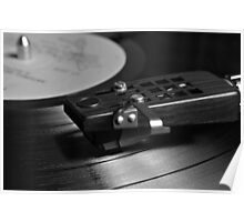 Vinyl record playing on a turntable in Monochrome Poster