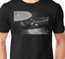 Vinyl record playing on a turntable in Monochrome Unisex T-Shirt