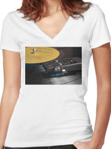 Vinyl record playing on a turntable Women's Fitted V-Neck T-Shirt