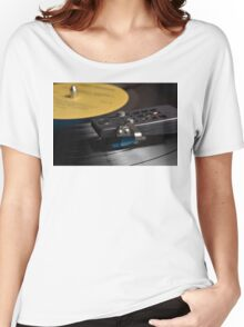 Vinyl record playing on a turntable Women's Relaxed Fit T-Shirt