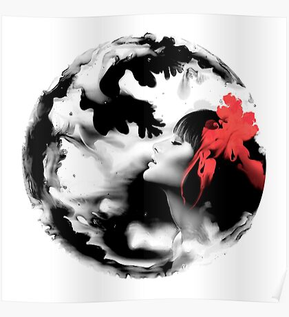 Psychedelic Dreaming Rorschach Black & White Ink Girl Poster