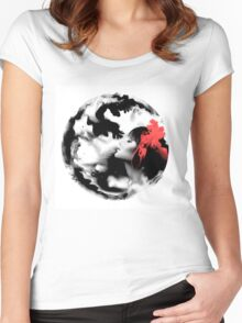 Psychedelic Dreaming Rorschach Black & White Ink Girl Women's Fitted Scoop T-Shirt