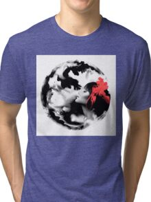 Psychedelic Dreaming Rorschach Black & White Ink Girl Tri-blend T-Shirt