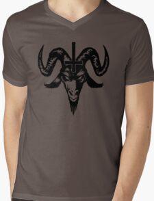 Satanic Goat Head with Cross (black) Mens V-Neck T-Shirt