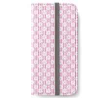 Girly pink white vintage stripes floral pattern iPhone Wallet/Case/Skin