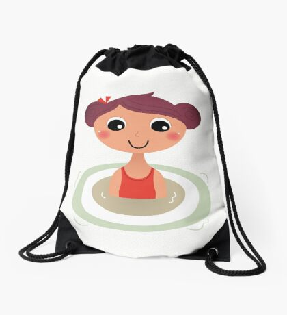 Beautiful young little summer swimming girl Drawstring Bag