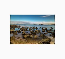 Half Moon Bay at low tide with shipwreck, Cerberus in the background Unisex T-Shirt