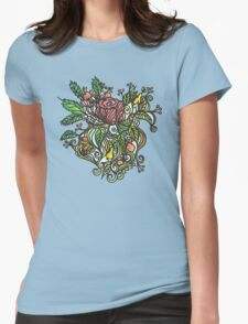 Rose tattoo sky blue Womens Fitted T-Shirt