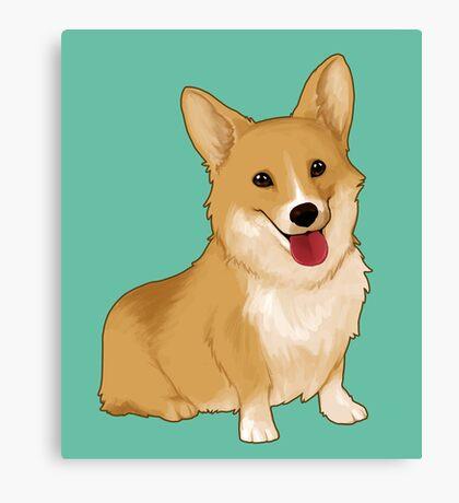 Cute smiling corgi Canvas Print