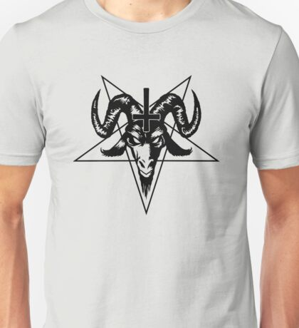 Satanic Goat Head with Pentagram (black) Unisex T-Shirt