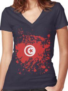Tunisia Flag Ink Splatter Women's Fitted V-Neck T-Shirt