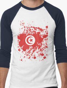 Tunisia Flag Ink Splatter Men's Baseball ¾ T-Shirt