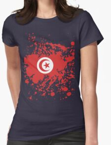 Tunisia Flag Ink Splatter Womens Fitted T-Shirt